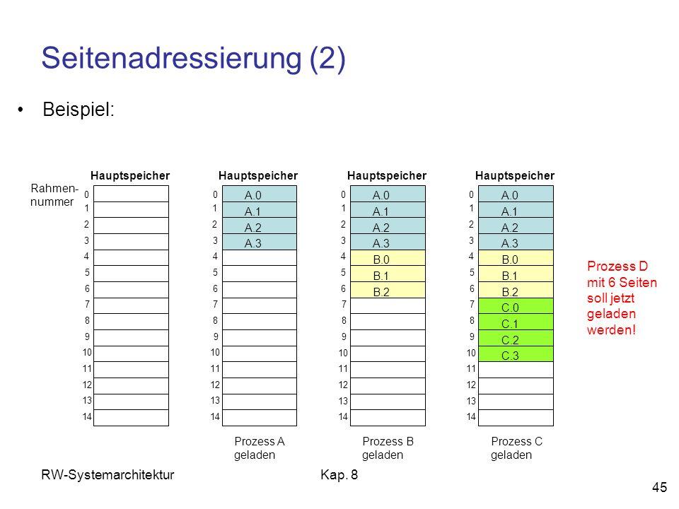 RW-SystemarchitekturKap. 8 45 Seitenadressierung (2) Beispiel: Rahmen- nummer 0 1 2 3 4 5 6 7 8 9 10 11 12 13 14 Hauptspeicher 0 1 2 3 4 5 6 7 8 9 0 1