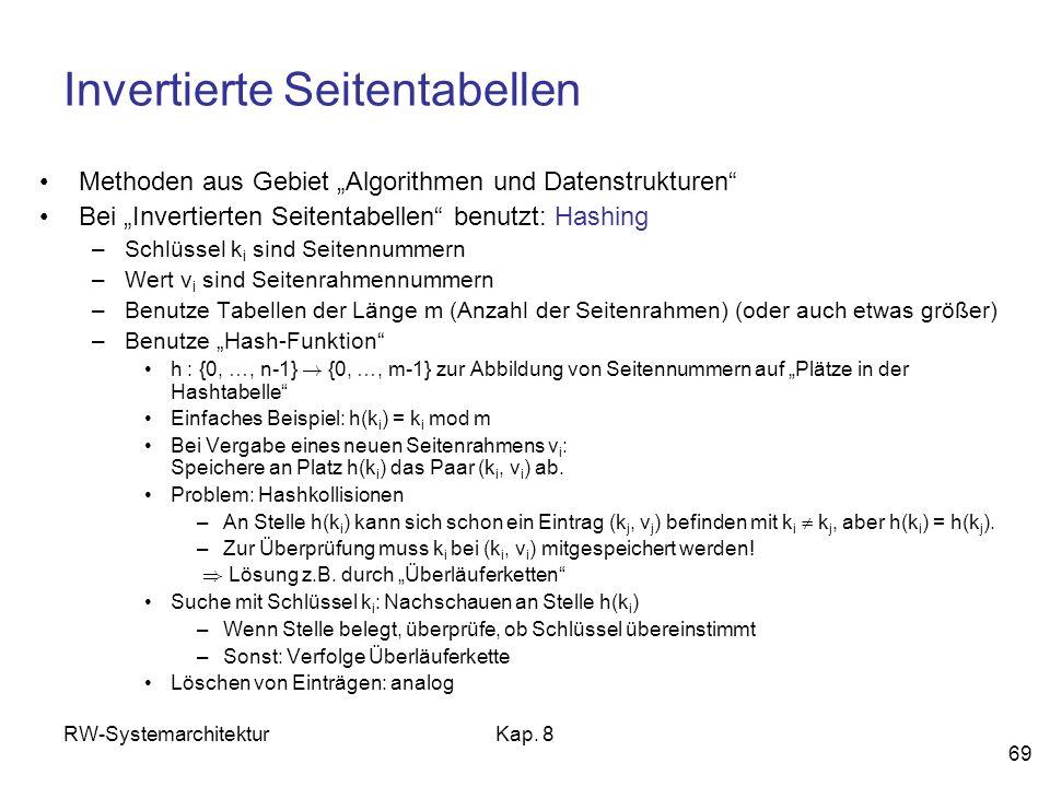 RW-SystemarchitekturKap. 8 69 Invertierte Seitentabellen Methoden aus Gebiet Algorithmen und Datenstrukturen Bei Invertierten Seitentabellen benutzt: