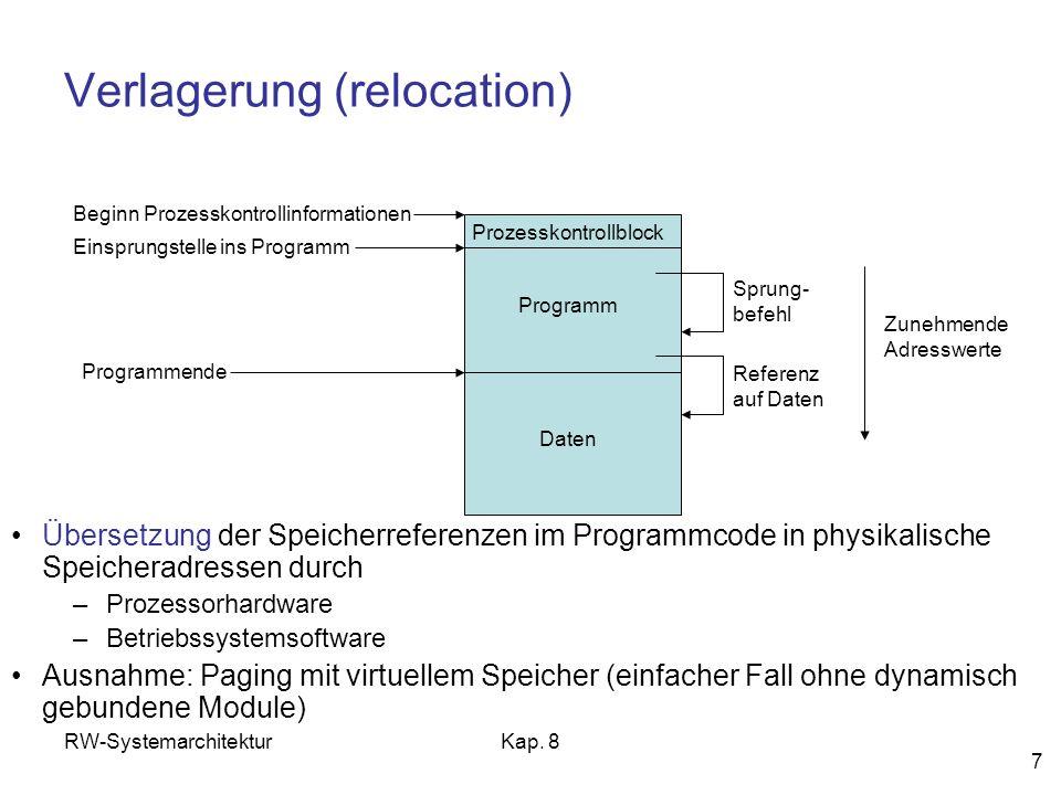 RW-SystemarchitekturKap. 8 7 Verlagerung (relocation) Übersetzung der Speicherreferenzen im Programmcode in physikalische Speicheradressen durch –Proz