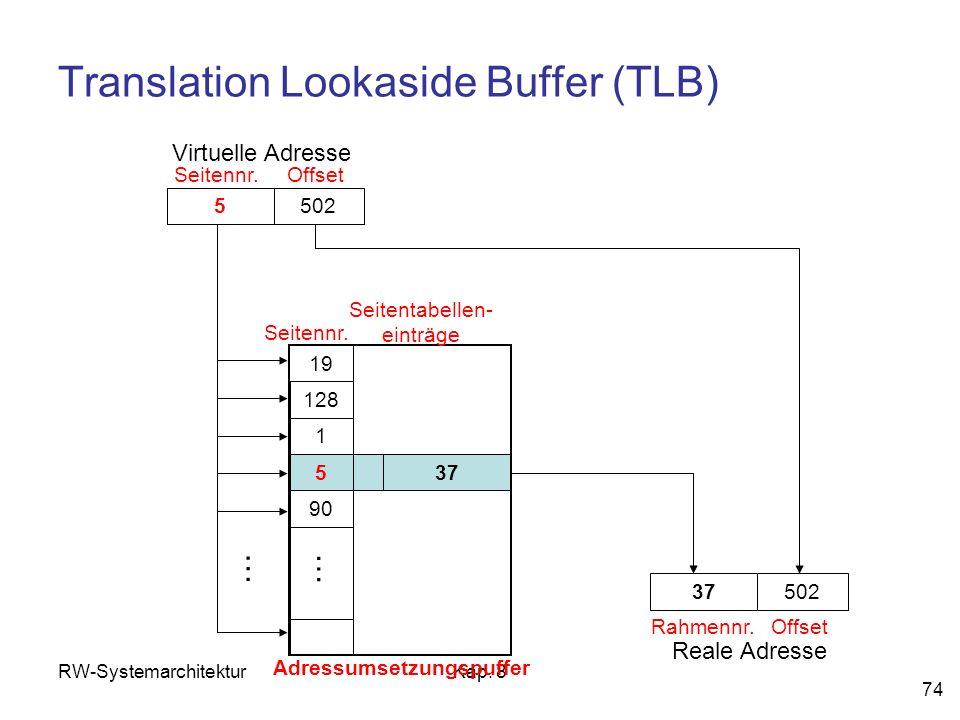 RW-SystemarchitekturKap. 8 74 Translation Lookaside Buffer (TLB) 5502 Virtuelle Adresse Adressumsetzungspuffer Seitennr.Offset 5 19 128 1 90 … 37 … Se