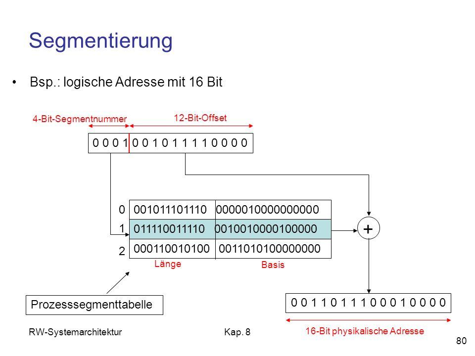 RW-SystemarchitekturKap. 8 80 Segmentierung Bsp.: logische Adresse mit 16 Bit 0 0 0 1 0 0 1 0 1 1 1 1 0 0 0 0 4-Bit-Segmentnummer 12-Bit-Offset 001011