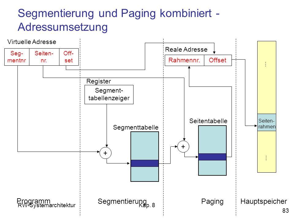 RW-SystemarchitekturKap. 8 83 Segmentierung und Paging kombiniert - Adressumsetzung Seg- mentnr Off- set Virtuelle Adresse Segment- tabellenzeiger Reg