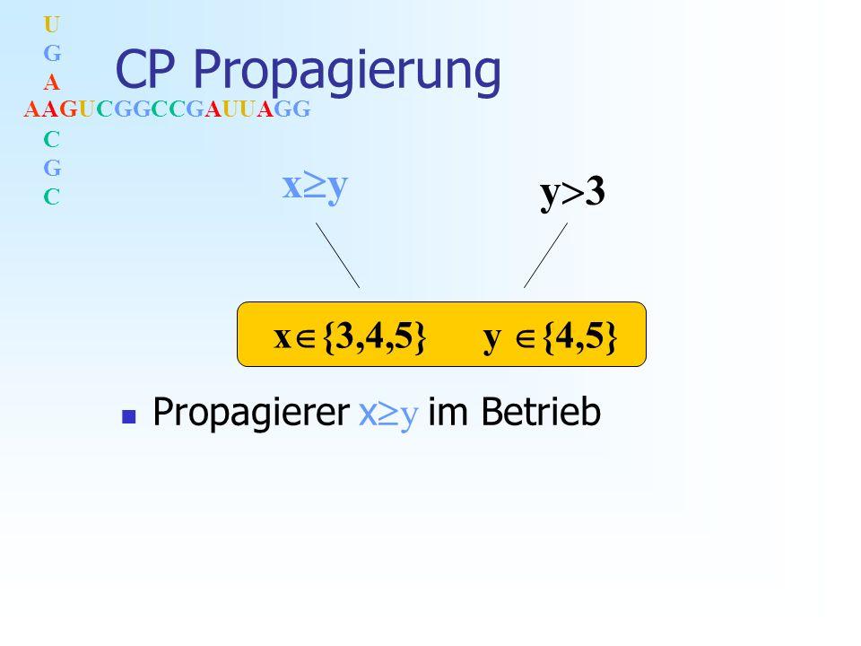 AAGUCGGCCGAUUAGG UGACGCUGACGC CP Propagierung Propagierer x y im Betrieb x y y 3 x {3,4,5} y {4,5}