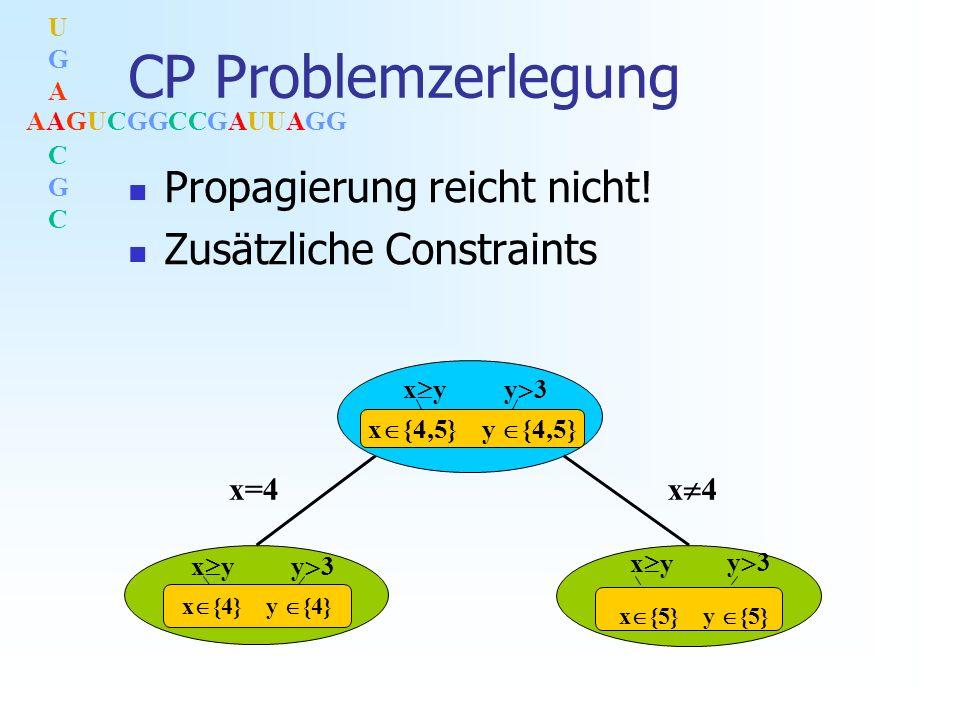 AAGUCGGCCGAUUAGG UGACGCUGACGC CP Problemzerlegung Propagierung reicht nicht.