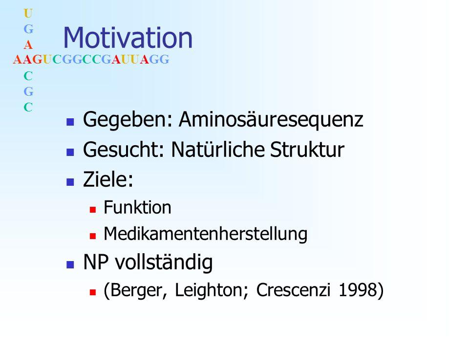 AAGUCGGCCGAUUAGG UGACGCUGACGC Motivation Gegeben: Aminosäuresequenz Gesucht: Natürliche Struktur Ziele: Funktion Medikamentenherstellung NP vollständig (Berger, Leighton; Crescenzi 1998)