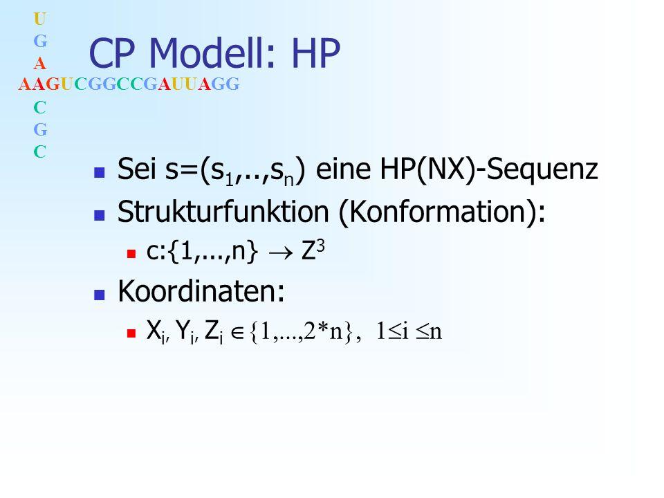 AAGUCGGCCGAUUAGG UGACGCUGACGC CP Modell: HP Sei s=(s 1,..,s n ) eine HP(NX)-Sequenz Strukturfunktion (Konformation): c:{1,...,n} Z 3 Koordinaten: X i, Y i, Z i {1,...,2*n}, 1 i n