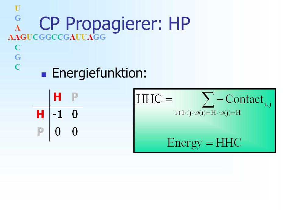 AAGUCGGCCGAUUAGG UGACGCUGACGC CP Propagierer: HP Energiefunktion: