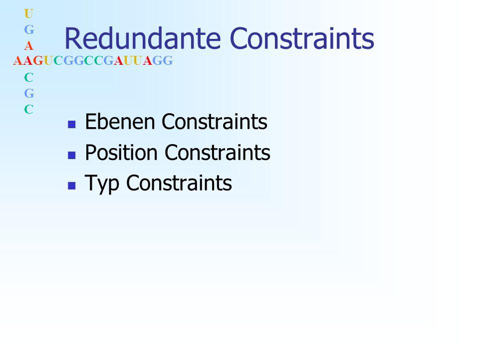 AAGUCGGCCGAUUAGG UGACGCUGACGC Redundante Constraints Ebenen Constraints Position Constraints Typ Constraints