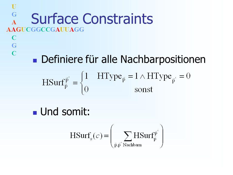 AAGUCGGCCGAUUAGG UGACGCUGACGC Surface Constraints Definiere für alle Nachbarpositionen Und somit: