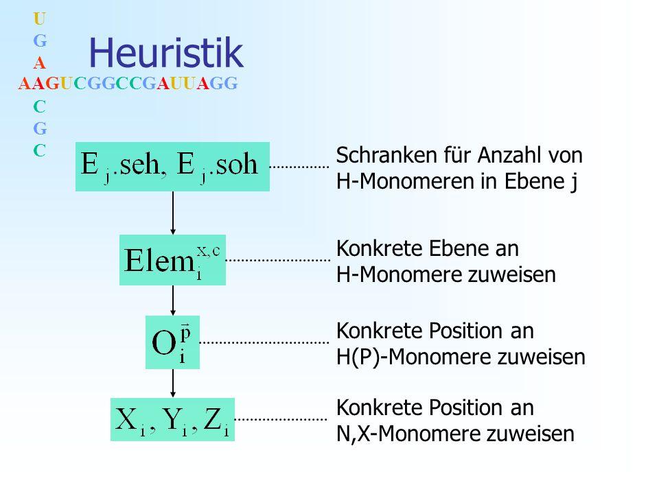 AAGUCGGCCGAUUAGG UGACGCUGACGC Heuristik Schranken für Anzahl von H-Monomeren in Ebene j Konkrete Ebene an H-Monomere zuweisen Konkrete Position an H(P)-Monomere zuweisen Konkrete Position an N,X-Monomere zuweisen