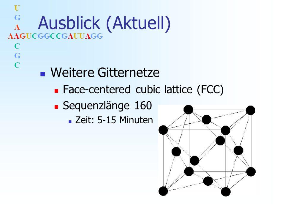 AAGUCGGCCGAUUAGG UGACGCUGACGC Ausblick (Aktuell) Weitere Gitternetze Face-centered cubic lattice (FCC) Sequenzlänge 160 Zeit: 5-15 Minuten