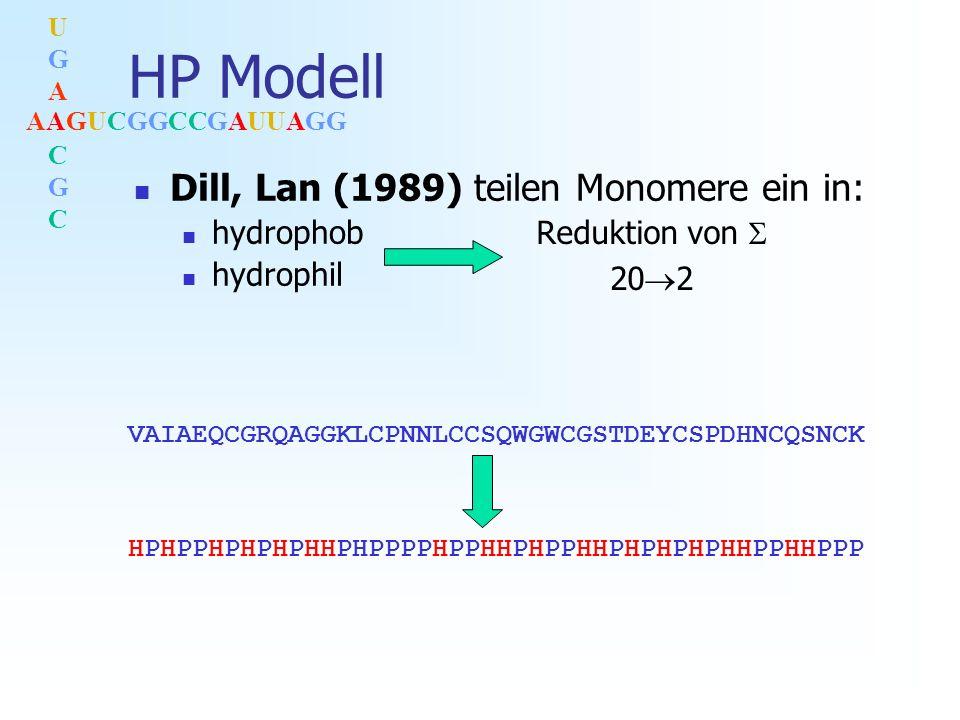 AAGUCGGCCGAUUAGG UGACGCUGACGC HP Modell Dill, Lan (1989) teilen Monomere ein in: hydrophob hydrophil Reduktion von 20 2 VAIAEQCGRQAGGKLCPNNLCCSQWGWCGSTDEYCSPDHNCQSNCK HPHPPHPHPHPHHPHPPPPHPPHHPHPPHHPHPHPHPHHPPHHPPP