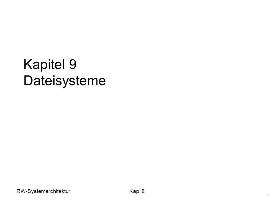 RW-SystemarchitekturKap. 8 1 Kapitel 9 Dateisysteme
