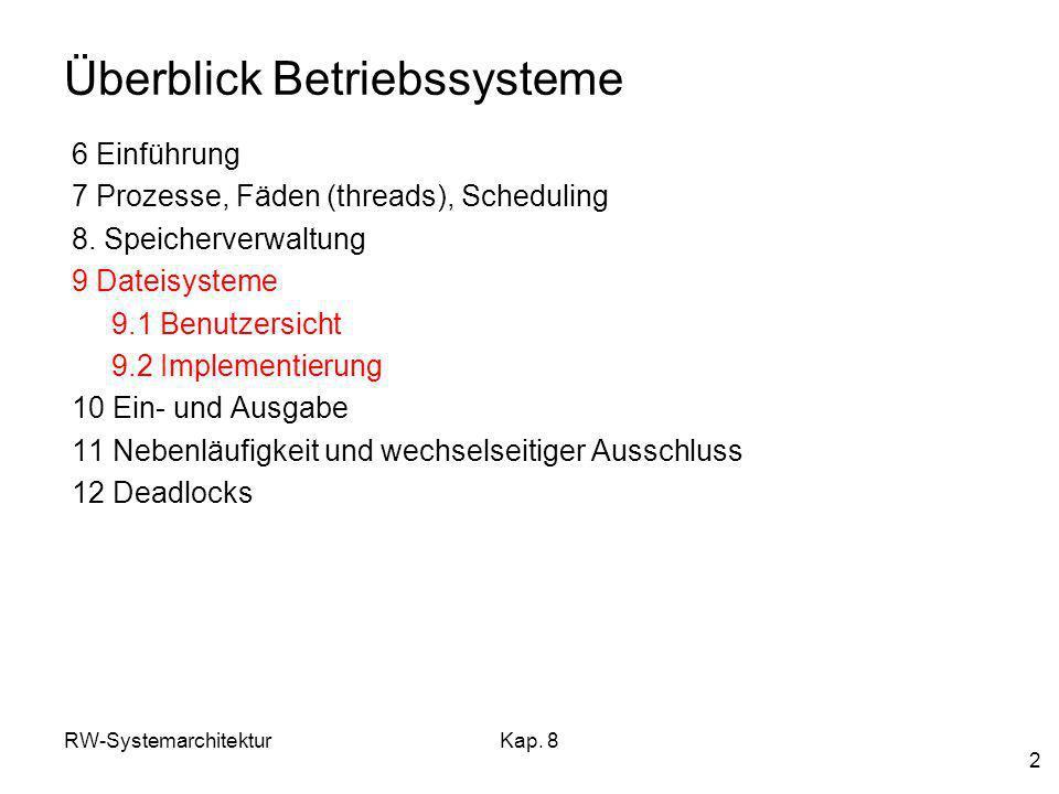 RW-SystemarchitekturKap. 8 2 Überblick Betriebssysteme 6 Einführung 7 Prozesse, Fäden (threads), Scheduling 8. Speicherverwaltung 9 Dateisysteme 9.1 B