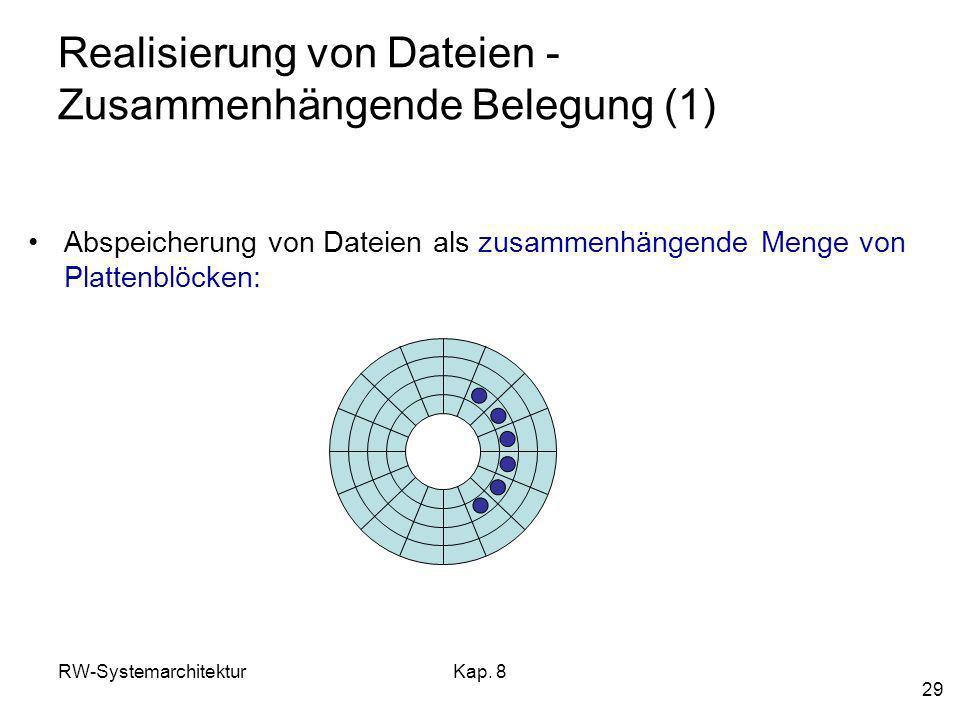 RW-SystemarchitekturKap. 8 29 Realisierung von Dateien - Zusammenhängende Belegung (1) Abspeicherung von Dateien als zusammenhängende Menge von Platte