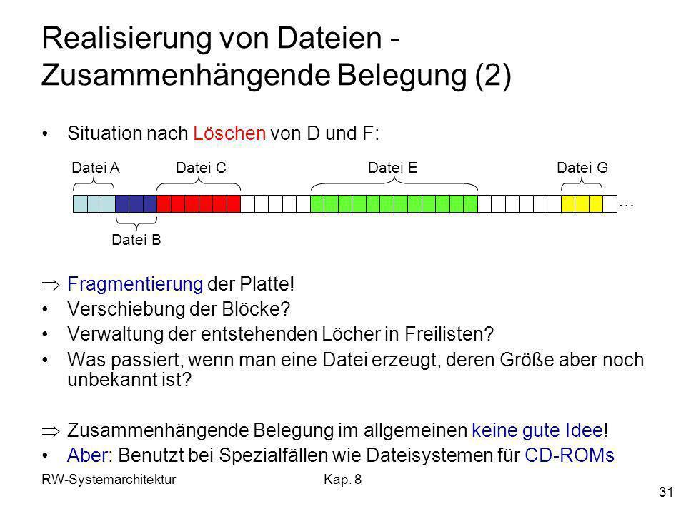 RW-SystemarchitekturKap. 8 31 Realisierung von Dateien - Zusammenhängende Belegung (2) Situation nach Löschen von D und F: Fragmentierung der Platte!