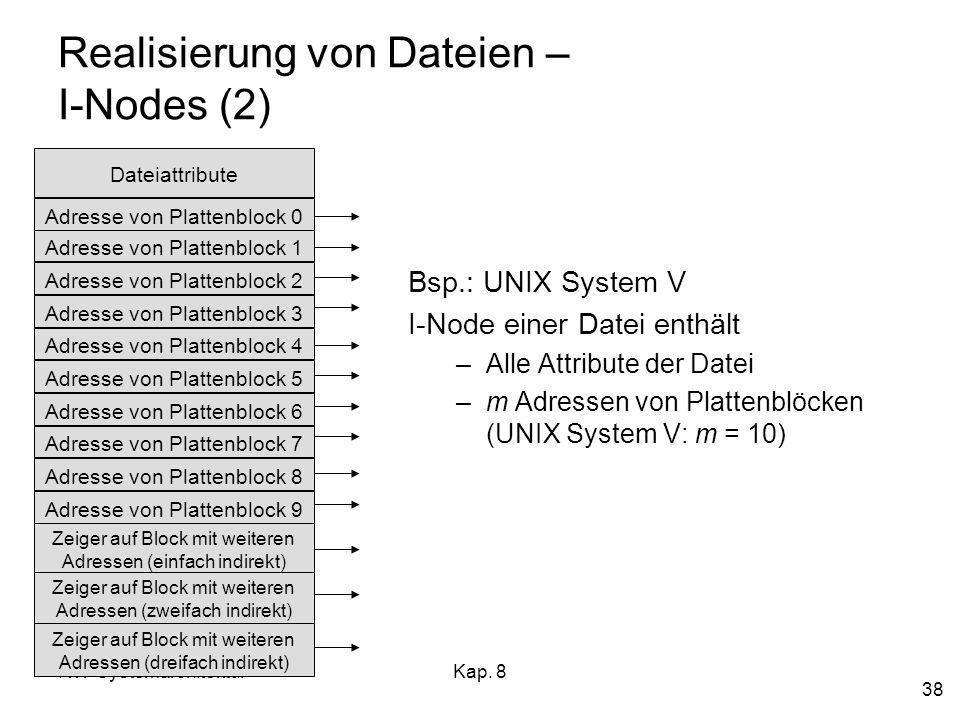 RW-SystemarchitekturKap. 8 38 Realisierung von Dateien – I-Nodes (2) Bsp.: UNIX System V I-Node einer Datei enthält –Alle Attribute der Datei –m Adres