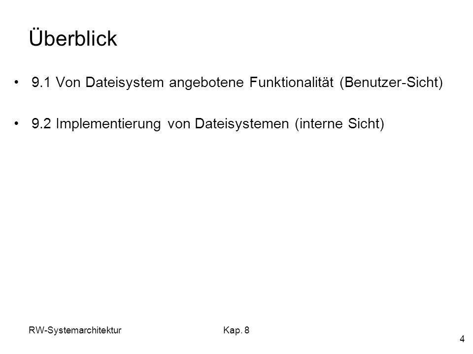 RW-SystemarchitekturKap. 8 4 Überblick 9.1 Von Dateisystem angebotene Funktionalität (Benutzer-Sicht) 9.2 Implementierung von Dateisystemen (interne S