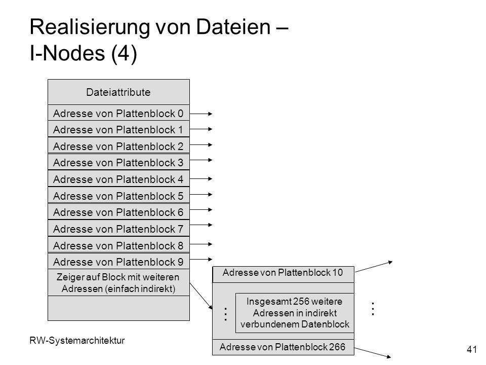 RW-SystemarchitekturKap. 8 41 Realisierung von Dateien – I-Nodes (4) Adresse von Plattenblock 0 Adresse von Plattenblock 1 Adresse von Plattenblock 2