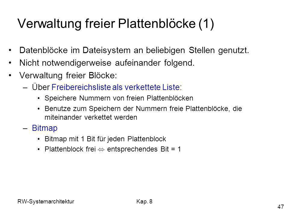 RW-SystemarchitekturKap. 8 47 Verwaltung freier Plattenblöcke (1) Datenblöcke im Dateisystem an beliebigen Stellen genutzt. Nicht notwendigerweise auf