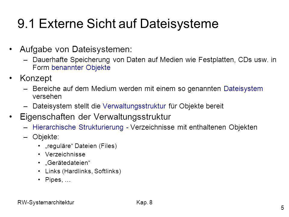 RW-SystemarchitekturKap. 8 5 9.1 Externe Sicht auf Dateisysteme Aufgabe von Dateisystemen: –Dauerhafte Speicherung von Daten auf Medien wie Festplatte
