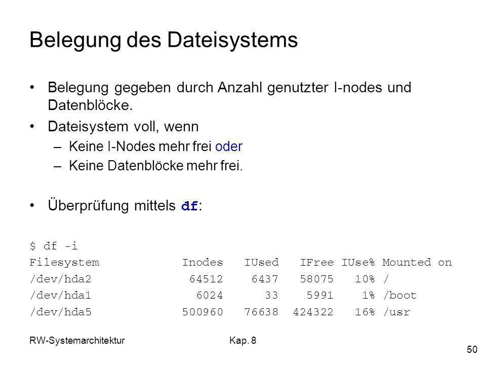 RW-SystemarchitekturKap. 8 50 Belegung des Dateisystems Belegung gegeben durch Anzahl genutzter I-nodes und Datenblöcke. Dateisystem voll, wenn –Keine