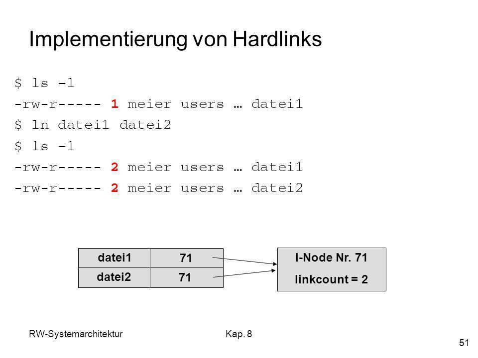 RW-SystemarchitekturKap. 8 51 Implementierung von Hardlinks $ ls –l -rw-r----- 1 meier users … datei1 $ ln datei1 datei2 $ ls –l -rw-r----- 2 meier us