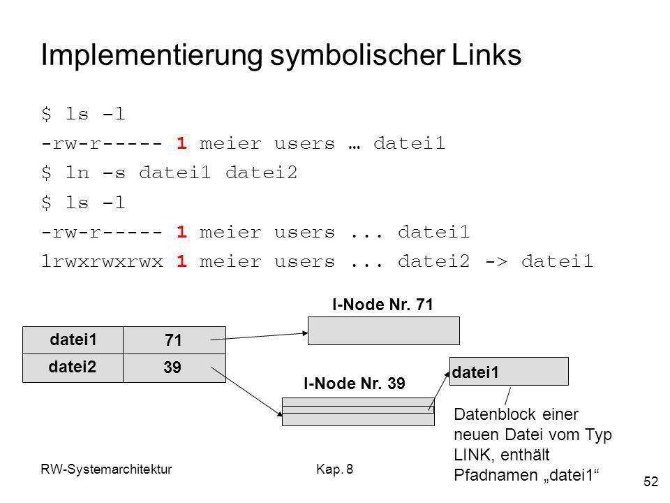 RW-SystemarchitekturKap. 8 52 Implementierung symbolischer Links $ ls –l -rw-r----- 1 meier users … datei1 $ ln –s datei1 datei2 $ ls –l -rw-r----- 1