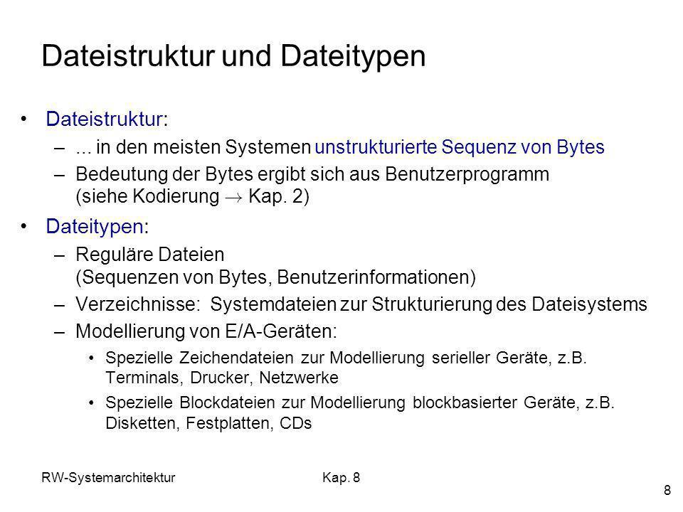 RW-SystemarchitekturKap. 8 8 Dateistruktur und Dateitypen Dateistruktur: –... in den meisten Systemen unstrukturierte Sequenz von Bytes –Bedeutung der