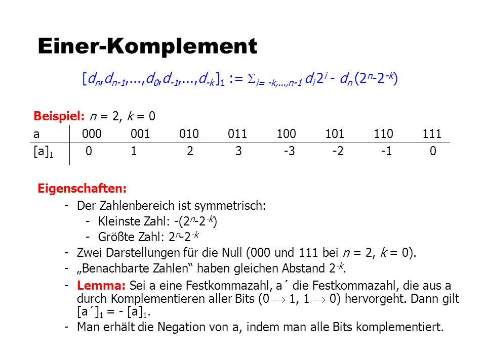 Einer-Komplement [d n,d n-1,...,d 0,d -1,...,d -k ] 1 := i= -k,...,n-1 d i 2 i - d n (2 n -2 -k ) Beispiel: n = 2, k = 0 a000001010011100101110111 [a]