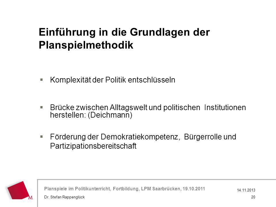 Hier wird der Titel der Präsentation wiederholt (Ansicht >Folienmaster) Planspiele im Politikunterricht, Fortbildung, LPM Saarbrücken, 19.10.2011 Einf