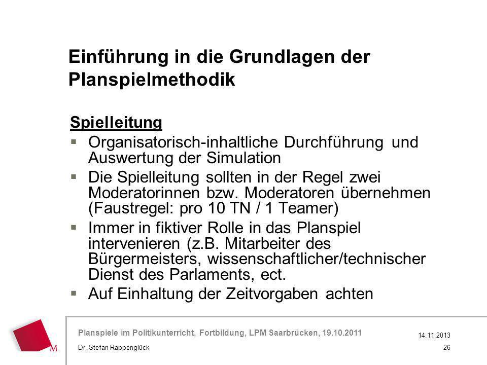 Hier wird der Titel der Präsentation wiederholt (Ansicht >Folienmaster) Planspiele im Politikunterricht, Fortbildung, LPM Saarbrücken, 19.10.2011 Spie