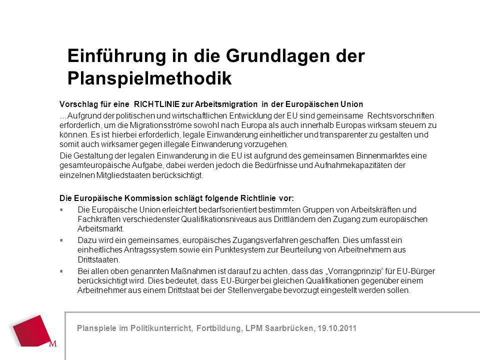Hier wird der Titel der Präsentation wiederholt (Ansicht >Folienmaster) Planspiele im Politikunterricht, Fortbildung, LPM Saarbrücken, 19.10.2011 Vors