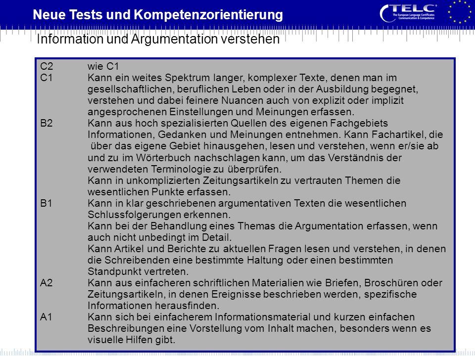 Neue Tests und Kompetenzorientierung C2wie C1 C1Kann ein weites Spektrum langer, komplexer Texte, denen man im gesellschaftlichen, beruflichen Leben o