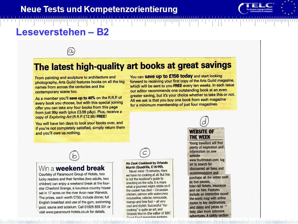Neue Tests und Kompetenzorientierung Leseverstehen – B2