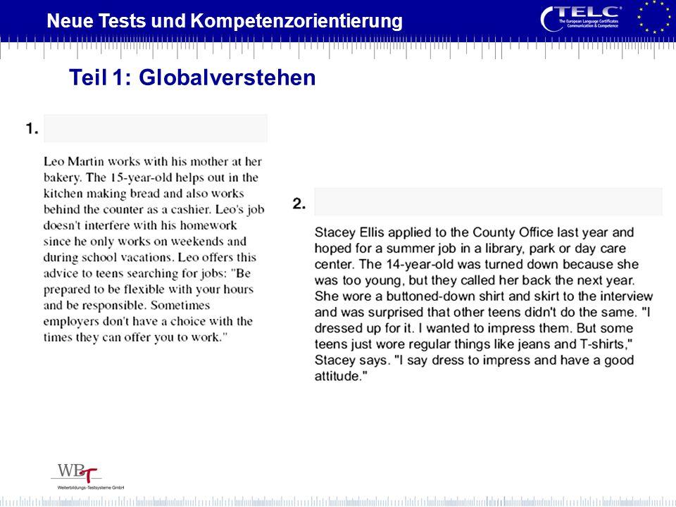 Neue Tests und Kompetenzorientierung Teil 1: Globalverstehen