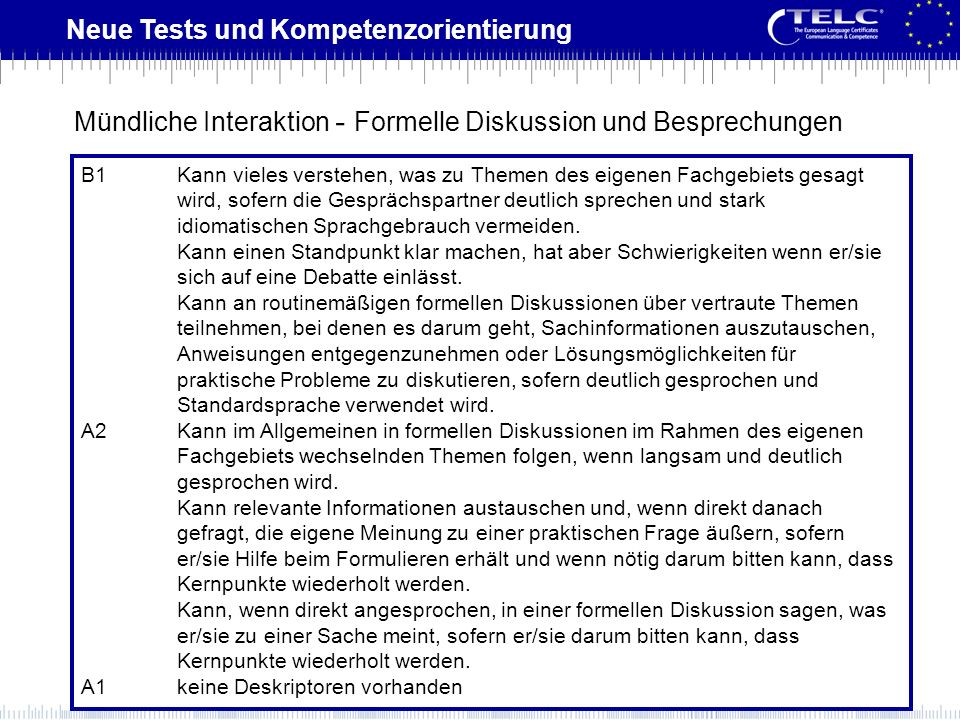 Neue Tests und Kompetenzorientierung B1Kann vieles verstehen, was zu Themen des eigenen Fachgebiets gesagt wird, sofern die Gesprächspartner deutlich