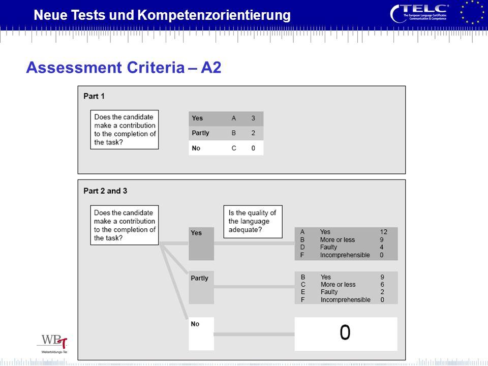 Neue Tests und Kompetenzorientierung Assessment Criteria – A2