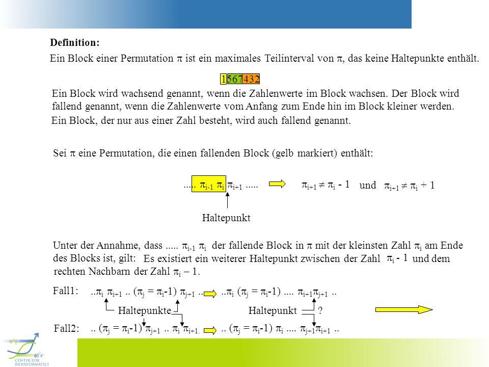 Definition: Ein Block einer Permutation ist ein maximales Teilinterval von, das keine Haltepunkte enthält. 1567432 Ein Block wird wachsend genannt, we