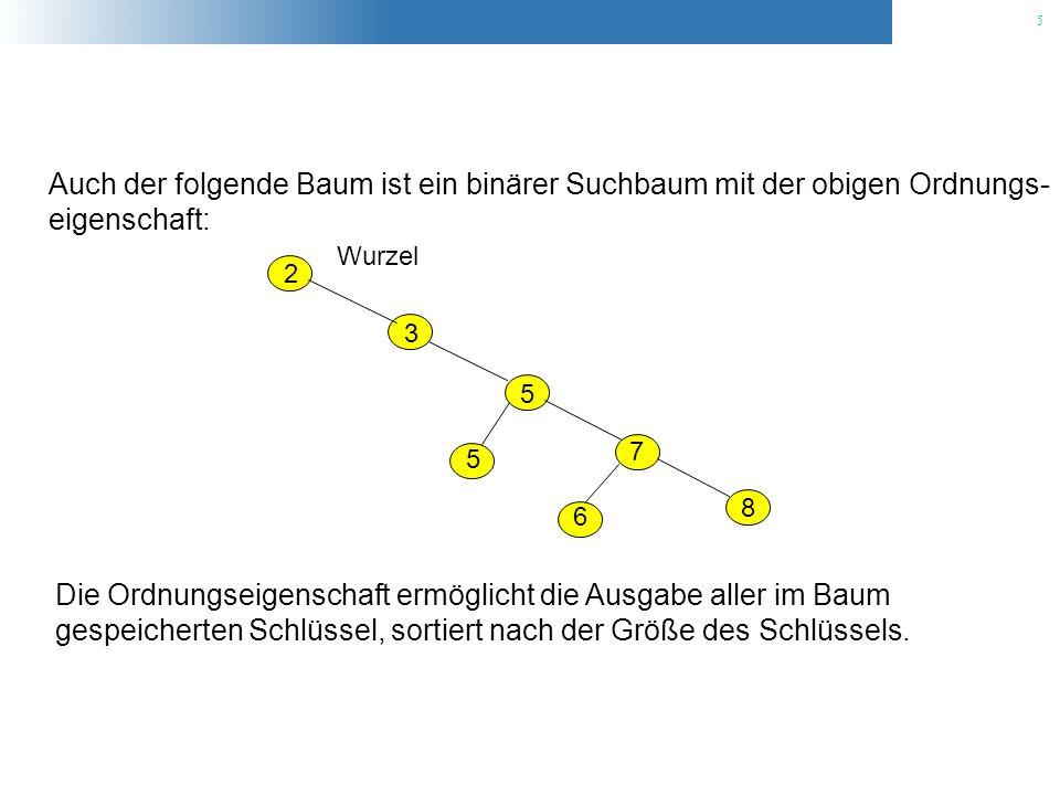 6 2 3 5 5 7 6 8 Wurzel void tree_walk(TreeNode *x) { if (x != NULL) { tree_walk(x->left_child); cout key << endl; tree_walk(x->right_child); }
