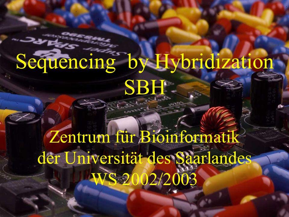 Hybridisierung (Hybridization) 1 Sequencing by Hybridization SBH Zentrum für Bioinformatik der Universität des Saarlandes WS 2002/2003