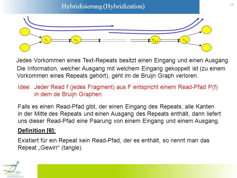 Hybridisierung (Hybridization) 16 v2v2 v1v1 vnvn v n-1 Jedes Vorkommen eines Text-Repeats besitzt einen Eingang und einen Ausgang. Die Information, we