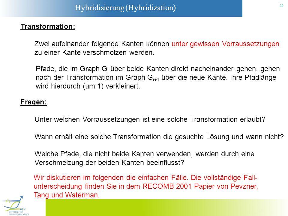 Hybridisierung (Hybridization) 19 Transformation: Zwei aufeinander folgende Kanten können unter gewissen Vorraussetzungen zu einer Kante verschmolzen