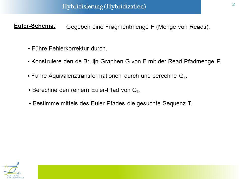 Hybridisierung (Hybridization) 29 Euler-Schema: Gegeben eine Fragmentmenge F (Menge von Reads). Führe Fehlerkorrektur durch. Konstruiere den de Bruijn