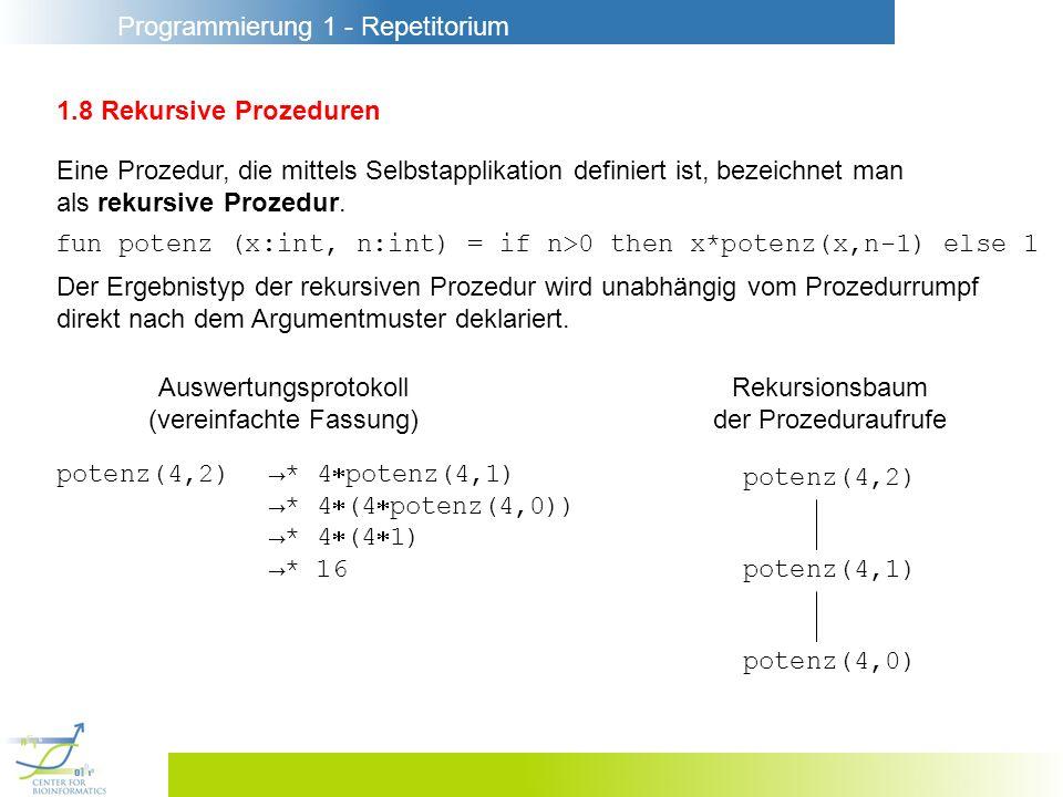 Programmierung 1 - Repetitorium 1.8 Rekursive Prozeduren Eine Prozedur, die mittels Selbstapplikation definiert ist, bezeichnet man als rekursive Proz
