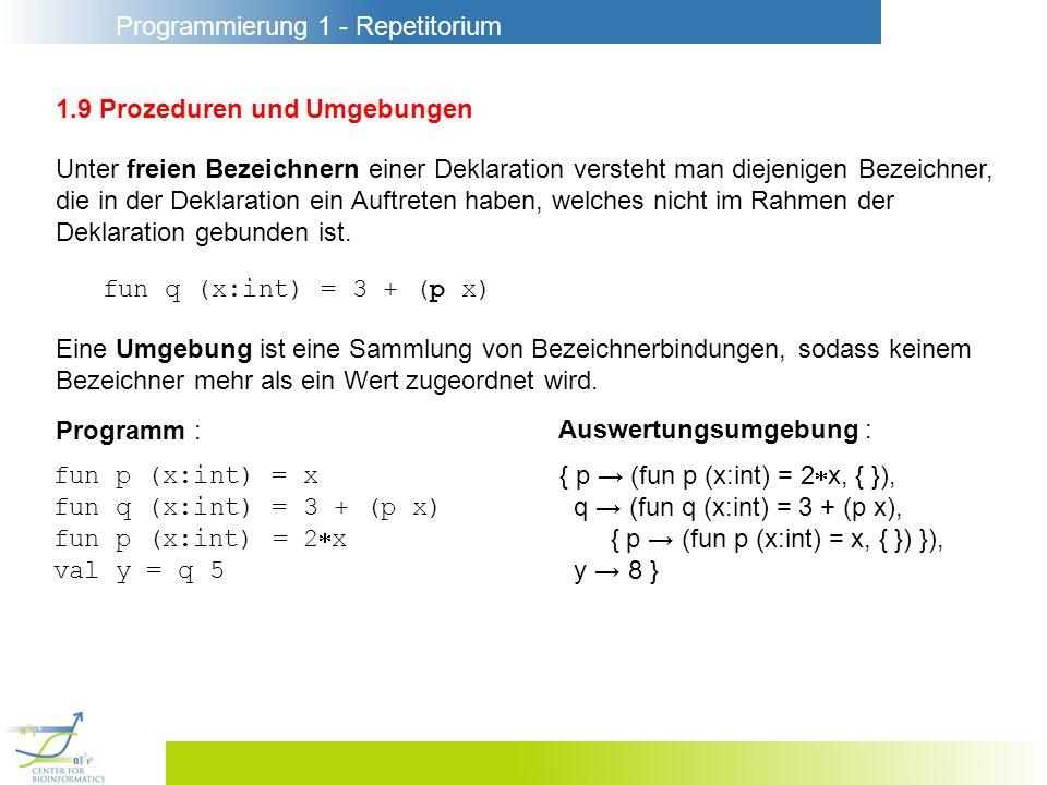 Programmierung 1 - Repetitorium 1.9 Prozeduren und Umgebungen Unter freien Bezeichnern einer Deklaration versteht man diejenigen Bezeichner, die in de