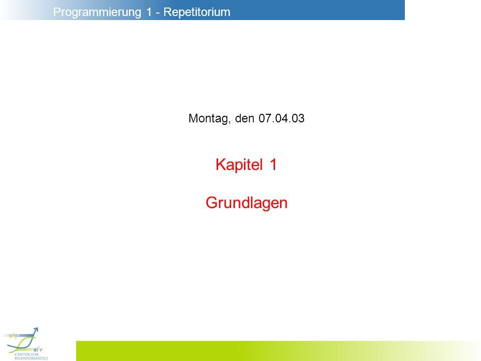 Programmierung 1 - Repetitorium 1.11 Klammern f 2+2+ x3x3 + f2x3f2x3 + 3 f 2x2x f(2 (x+3)) (f 2) (x+3)f(2 x)+3 Die wichtigsten Klammersparregeln : Punkt vor Strich 3 4+5 (3 4)+5 Operatoranwendung gruppiert nach links 2+3+4 (2+3)+4 Prozeduranwendung vor Operatoranwendung f 3+4 (f 3)+4 Prozeduranwendung gruppiert nach links f g 3 (f g) 3