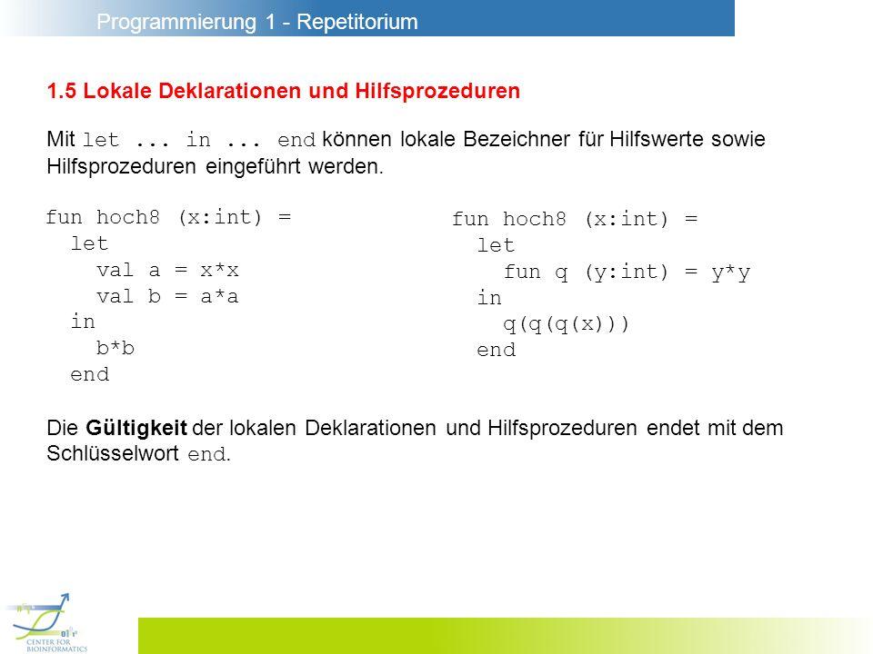 Programmierung 1 - Repetitorium 1.16 Laufzeitfehler und Divergenz Möglichkeiten für den Verlauf der Ausführung eines Programms : - Reguläre Terminierung (Ausführung endet nach endlich vielen Schritten OK) - Abbruch wegen Laufzeitfehlern (Abbruch aufgrund eines Fehlersignals) - Abbruch durch den Benutzer (Ctrl + C) - Abbruch wegen Ressourcenüberschreitung (Speicherplatz erschöpft) - Divergenz (Ausführung endet nicht)
