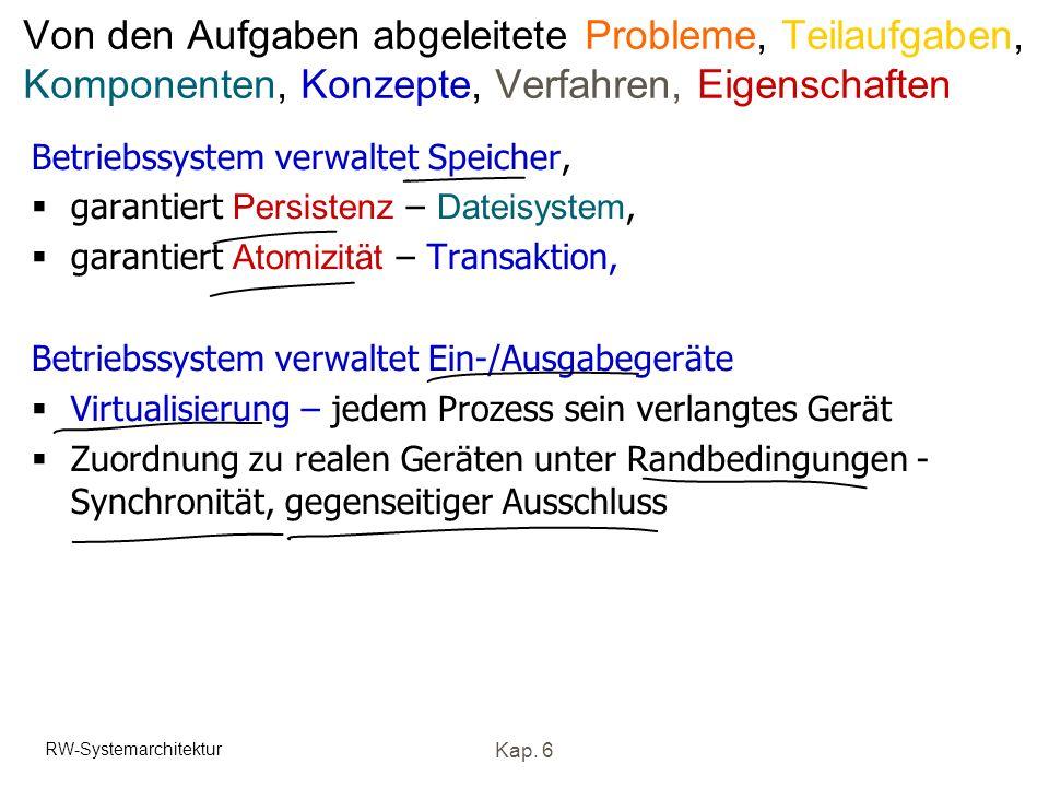 RW-Systemarchitektur Kap. 6 Von den Aufgaben abgeleitete Probleme, Teilaufgaben, Komponenten, Konzepte, Verfahren, Eigenschaften Betriebssystem verwal
