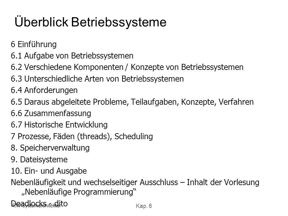 RW-Systemarchitektur Kap. 6 Überblick Betriebssysteme 6 Einführung 6.1 Aufgabe von Betriebssystemen 6.2 Verschiedene Komponenten / Konzepte von Betrie